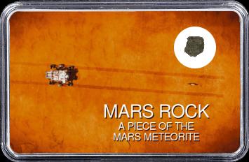 Mars Meteorit Ouargla 003 (Motiv: Mars Rover Perseverance und Hubschrauber Ingenuity mit Fahrspur auf Marsoberfläche aus Vogelperspektive)