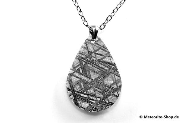 Eisen-Meteorit-Anhänger (Muonionalusta | Tropfen | Rhodiniert) Vorderansicht