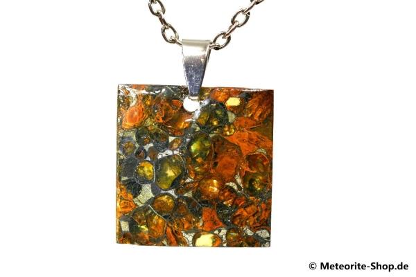 Stein-Eisen-Meteorit-Anhänger (Jepara | Scheibe | 925er Silber) - 5,60 g
