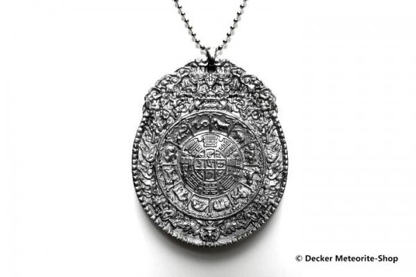 Stein-Eisen-Meteorit-Anhänger (Seymchan | Scheibe | Jiugong Carved Amulett) - 60,80 g
