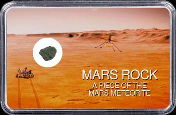 Mars Meteorit Ouargla 003 (Motiv: Mars Rover Perseverance und Hubschrauber Ingenuity im Flug vor Marsgebirge)