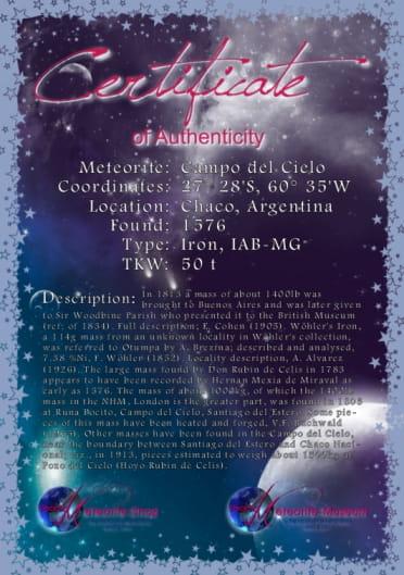 Campo del Cielo Zertifikat DIN A5