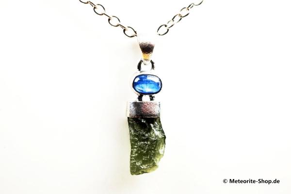 Moldavit-Anhänger (Tektit & Kyanit | Natura | 925er Silber) - 3,60 g