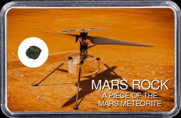 Mars Meteorit NWA 6963 (Motiv: Mars Hubschrauber Ingenuity auf Marsoberfläche in Frontansicht)