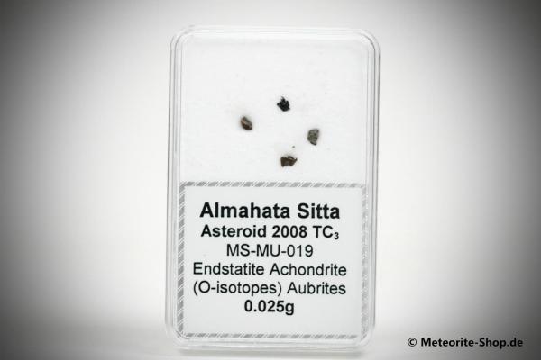 Almahata Sitta Meteorit (MS-MU-019: Enstatit-Achondrit (kein Aubrit) > metall-reich > einmalig) - 0,025 g
