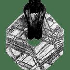 Eisen-Meteorit-Anhänger (Muonionalusta | Achteck-Donut | Kl. Ø | Rhodiniert)