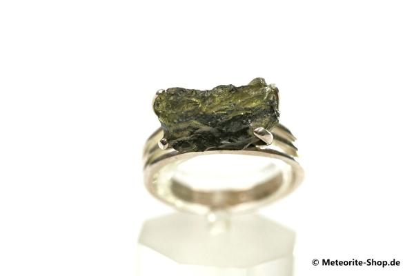 Moldavit-Ring (Tektit | Natura | Gr. 55 | 925er Silber ) - 3,60 g