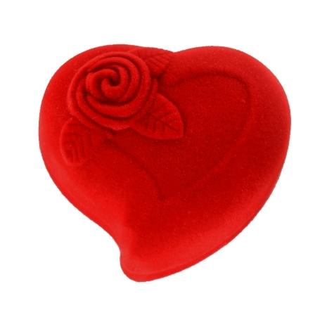 Herzbox aus Velours mit Rosenmuster