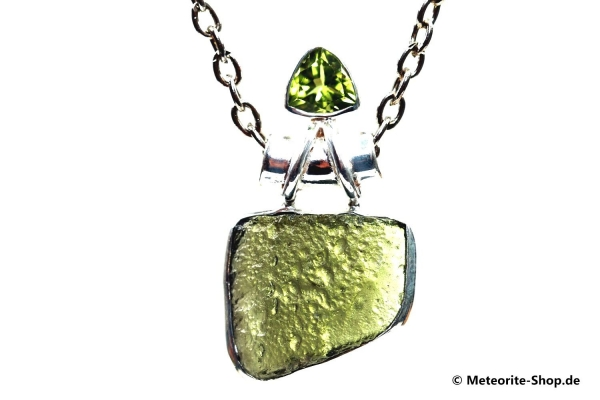 Moldavit-Anhänger (Tektit & Peridot | Natura | 925er Silber) - 4,40 g