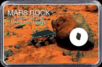 Mars Meteorit NWA 10628 (Motiv: Mars Rover Sojourner mit Felsen und Marsgestein)