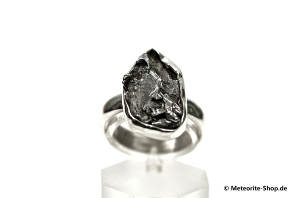 Eisen-Meteorit-Ring (Campo del Cielo   Gefasst   Gr. 54   925er Silber) - 5,10 g