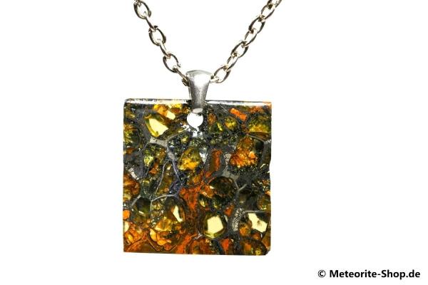 Stein-Eisen-Meteorit-Anhänger (Jepara   Scheibe   925er Silber) - 4,90 g