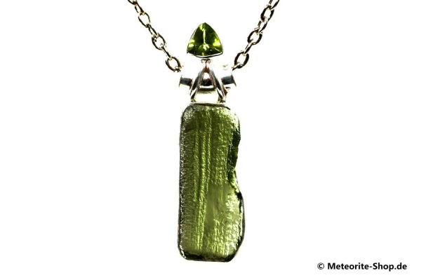 Moldavit-Anhänger (Tektit & Peridot | Natura | 925er Silber) - 5,70 g