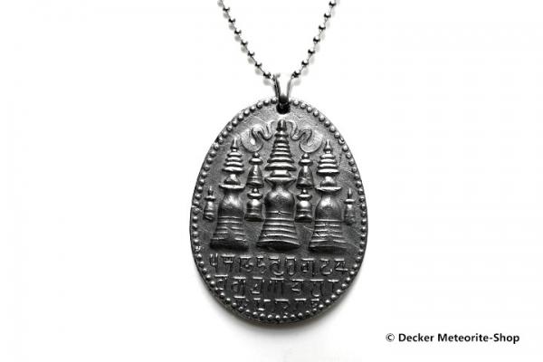 Stein-Eisen-Meteorit-Anhänger (Seymchan | Scheibe | Stupa Carved Amulett) - 31,80 g